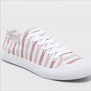 Womens Ivory Striped June Canvas Lace Up Sneaker